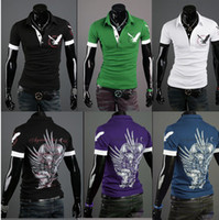 Wholesale 2629 HOT New men s t Shirts Mens Casual British eagle printing short Sleeve T shirts