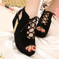 Women Wedge synthetic suede 2013 New Best Match OXford Black Hollow Out Multi Strappy Peep Toe Wedges Heels Sandal Shoe On Sale