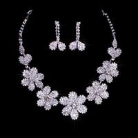 Rhinestone/Crystal austrian earrings - 7 Flowers Austrian Rhinestone Crystal Necklace Earrings Set Bridal Crystal Frontlet