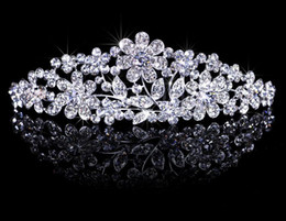 Wholesale Stylish Rhinestones Princess Crown Tiaras Headband Hair Clip Wedding Tiara Bride Prom