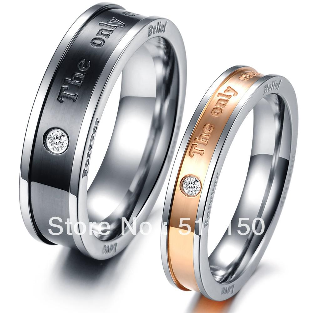 free shipping his and hers promise ring sets fashion couple stainless steel rings for lovers - His And Hers Wedding Ring Sets