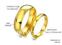 Wholesale Fashion lover s Jewelry couple stainless steel ring wedding K gold female size male size