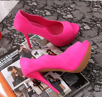Wholesale 2013 fluor pink Newest design sexy stiletto fish mouth high heels shoes lady s pump peep toe sandals