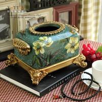 Wholesale ashion resin rustic tissue pumping box fashion box home decoration table napkin box home decoration