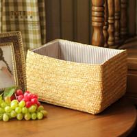 other corn husk - Rustic rattan corn husk single handle drawer storage basket debris basket