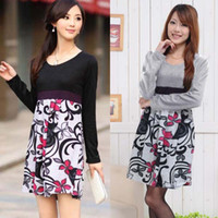 Wholesale 2013 Maternity clothing high waist pregnant woman dress long sleeve decorative pattern