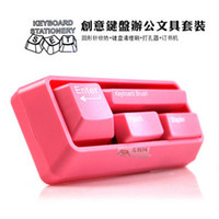 Wholesale Gift stapler punch combination set ppt mini keyboard stationery set