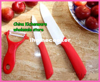 Wholesale 3PCS set inch inch peeler Ceramic Knife sets with Scabbard Retail package kitchen knife CE FDA