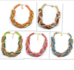 New Fashion Gold Plated Multilayer Snake Chains Beads Rhinestone Rope Choker Statement Necklace
