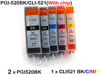Wholesale 6 ink cartridges for Canon PGI BK CLI with chip iP3600 ip4600 ip4700 MP540 MP620 MP630 MP640