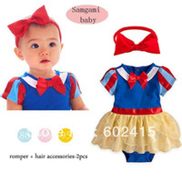 Girl Summer 1-3years old 3set lot Children girl's The Snow White style romper+hairband cute cartoon two-piece set GZ04
