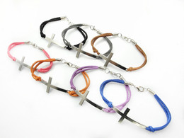 Fashion Jewelry cross multicolor charm leather bracelet for women 70pcs Lot free shipping mix color