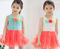 Wholesale 2013 Girls Dresses Flowers Tank Dress Colorful Cake Dress Children s Clothings