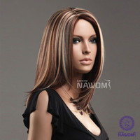Wholesale HOT SALE quot Beautiful Female Glamorous Charming Fashion Parted Kanekalon Long Brown Blond Straight Lady Wigs Hair H9091Z