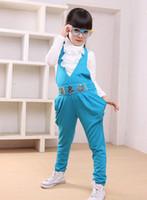 Girl baby red overalls - baby set kids suit Big child suspenders suits Render unlined upper garment overalls girl coat