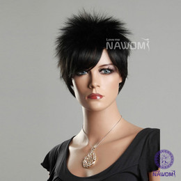 Wholesale Female Glamorous Charming short black straight Fiber Synthetic women Wig Hair H9097Z