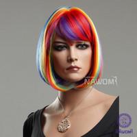 Wholesale Female Glamorous Charming Hair Wigs Fashion BOBO Short Rainbow Straight Synthetic Women Wig Hair H9099Z