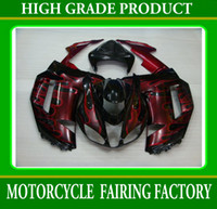 Wholesale Wine red flames black racing motorcycle fairings for Kawasaki Ninja ZX6R zx r ZX R RX1k