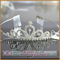 Wholesale 10PCS Princess Clear Rhinestone Tiara Crown Hair Combs For Girl Women Prom Event Birthday Accessories Customized YC