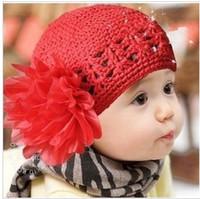 Wholesale Infant Girls Pretty Crochet Hats Elegant Flower Newborn Hat Hot Sale Children s Spring Hats