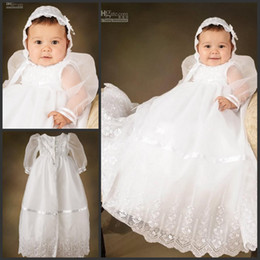 Wholesale A Line Beautiful Floor Length Christening Gowns Long Sheer Sleeves White Babies First Communion Dresses
