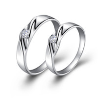 Wholesale Top Sale Exquisite Platinum Plated Lovers Ring With Austria Crystal J018