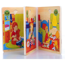 Wholesale Funny Puzzle Wooden Book Puzzle Toys Colorful D Story Books baby Learning Educational Toys
