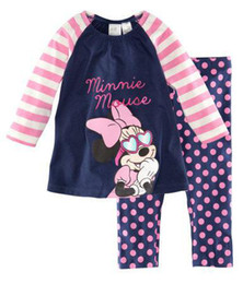 Wholesale children s Pajamas blue and pink minnie mouse boys Girl s Cartoon pajamas suits Baby outfit suits sleepwears sets