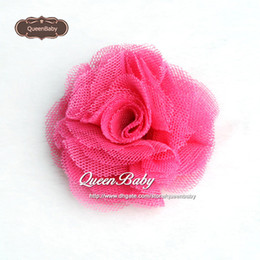 """Trial Order 2"""" Mesh Flowers Hair Clip Mini Tulle Shabby Hair Flowers with clip Newborn Photography Props 60PCS LOT QueenBaby"""