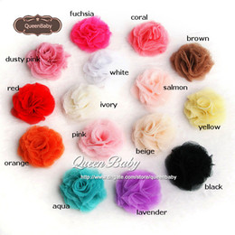 """Trial Order 2"""" Mesh Flowers Head Mini Hair Flowers Flat Back Tulle Flowers Photography Props 60PCS LOT QueenBaby"""