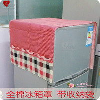 Wholesale Cotton cloth art Korean garden refrigerator cover Shelves hang the bag dual use dust proof sets of r
