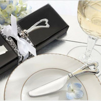 Cheap 200 pcs lot Wedding favor Butter knife Love Heated Shape Cream Jam Knives Bridal party Gifts #2189