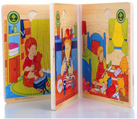 Wholesale Funny Puzzle Wooden Book Puzzle Toys Colorful D Story Books Learning Educational Toy