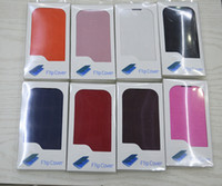 For Samsung Leather  Flip Leather Case Cover for Samsung Galaxy S3 S III mini i8190 30pcs Black White Blue Brown Pink
