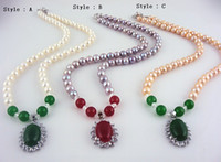 Wholesale 9 mm Diameter Beads Jade Pendant Natural Freshwater Pearl Necklace