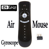 Wholesale 2 G Wireless Gyroscope Fly Air Mouse T2 Mice Android Remote Control D Motion Stick Combo Computer