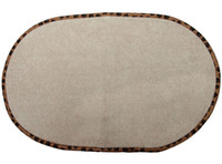 Wholesale High Quality Microfiber Pet Bowl Mat by Inch Beige w anti skid backing