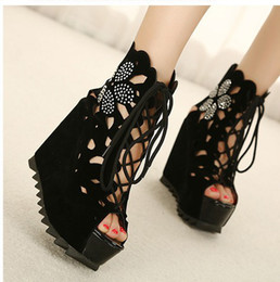 2013 new Fashion is hollow-out suede fish mouth high-heeled sandals black shoes