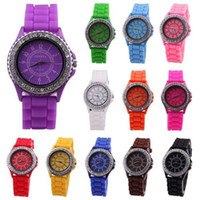 Wholesale Geneva Crystal Diamond Jelly Silicone Watch Unisex Men s Women s Quartz Candy Watches colors choice DHL