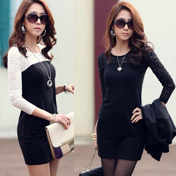 2013 Hot Fashion Korean Style Women's Lace Dress Elegant Slim Long ...