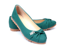 Wholesale 2013 fashion Rhinestone dress shoes bow pumps flat boat shoes womens casual shoes green pink shoes