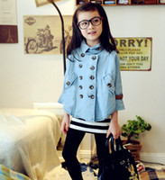 Wholesale 2013 Girl s Denim Jackets Double Breasted Denim Bat Sleeve Tops Children s Clothings