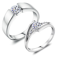 Wholesale Top Sale Exquisite Platinum Plated Lovers Ring With Austria Crystal J045