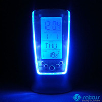 Wholesale Digital Thermometer Clock LCD Alarm Calendar LED Backlight Desktop Weather Station Clocks