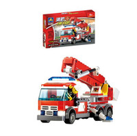 other   Free shipping Educational DIY Construction building blocks fire truck 8053 244 pcs plastic toys for children H0140