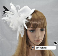 Wholesale Fashion Bride Gauze Feather Hairpin Hair Fascinators Hair Accessory Small Fedoras Mixed Colors