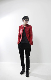 Wholesale fashion new Red leather jacket for men Korean Slim stylish casual leather collar