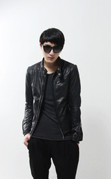 Wholesale fashion new Red leather jacket men Korean stand collar Slim stylish casual leather collar