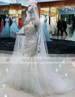 Wholesale 2013 New White Mermaid Sweetheart Crystals Train Tulle Bridal gowns Wedding dress R6