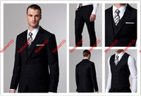 Wholesale Popular style buttons black Groom Tuxedos groomsmen Suits jacket pants waistcoat tie AB